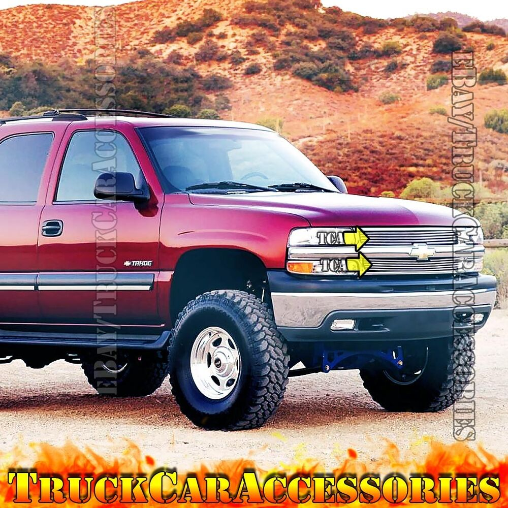 for 2000 2006 tahoe suburban 1999 2002 silverado1500 2pc polished grille overlay ebay