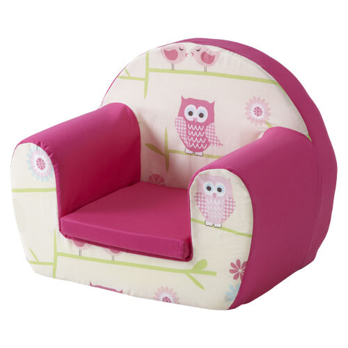 Owls Twit Twoo Pink Childrens Kids Comfy Foam Chair