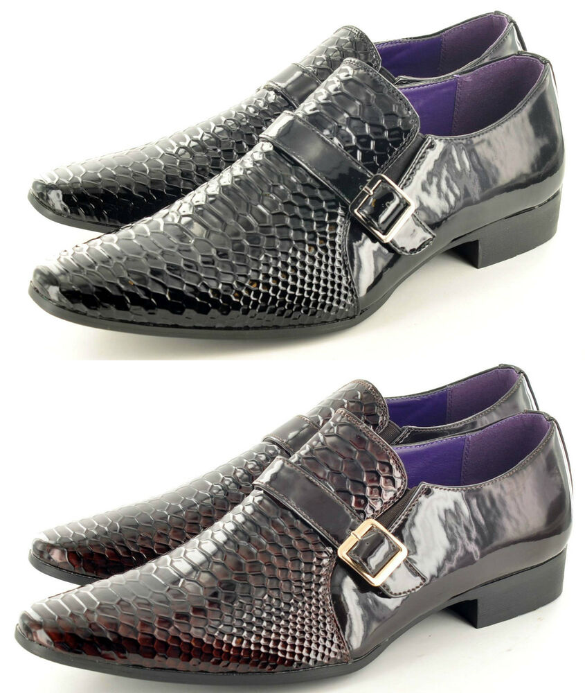 Mens Leather Lined Crocodile Skin Winkle Pickers Shiny ...