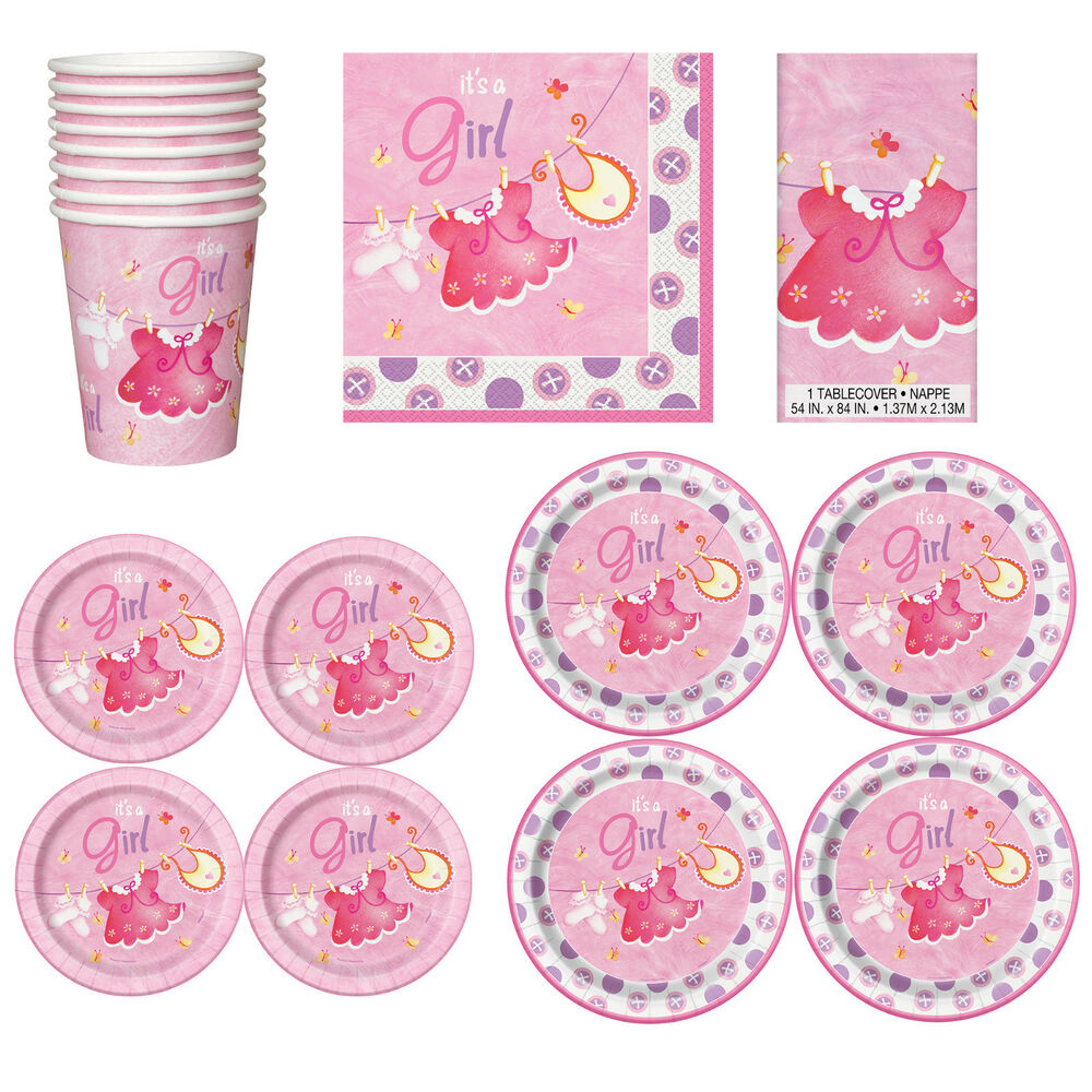 Baby Shower Plate: Baby Shower GIRLS Party Tableware Supplies Girl Napkins