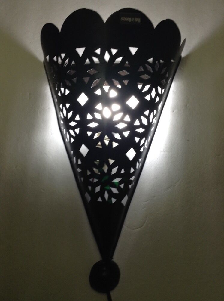 Black Wrought Wall Lights : Moroccan Rustic Black Forged Wrought Iron Tin Wall Light Conical Sconce eBay