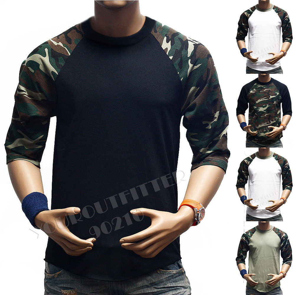 Pro tag 100 cotton 3 4 sleeve raglan baseball shirt in white black - 3 4 Sleeve S 3xl Camouflage Baseball T Shirt Raglan Plain Camo Tee Men S Sports Ebay