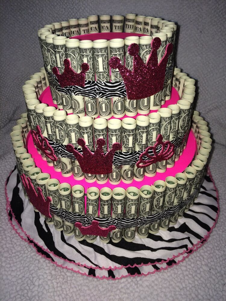 Pink money cake made with real money gift for birthday graduation baby shower ebay - Money cake decorations ...
