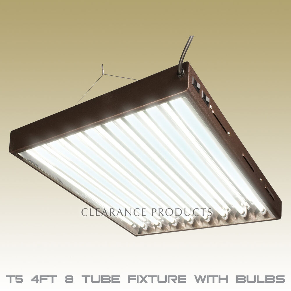 t5 4ft 8 tube fluorescent hydroponic grow light system w 6400k bulbs. Black Bedroom Furniture Sets. Home Design Ideas