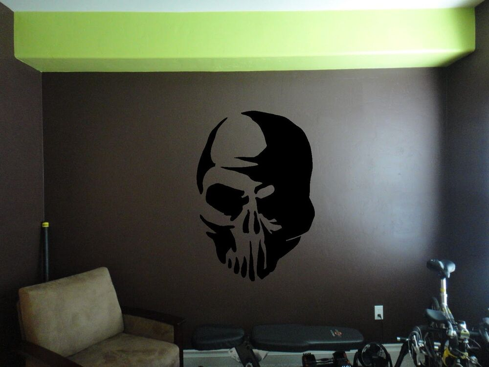 skull wall sticker wall art decor vinyl decal mural. Black Bedroom Furniture Sets. Home Design Ideas