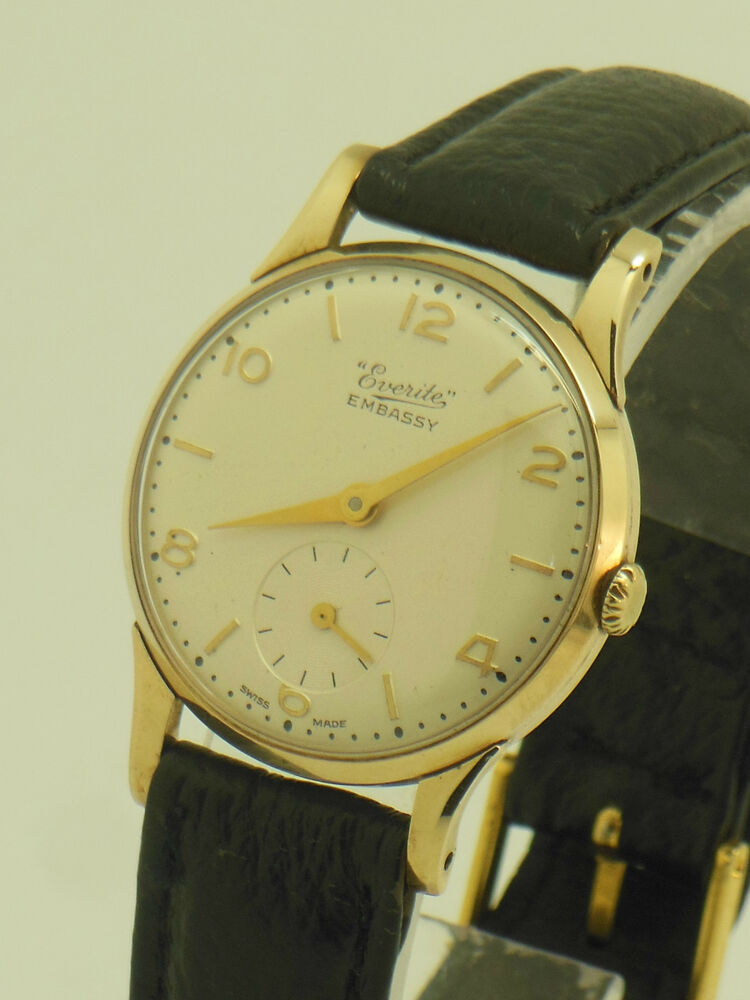 mens vintage 1960s everite embassy 9ct gold hand winding