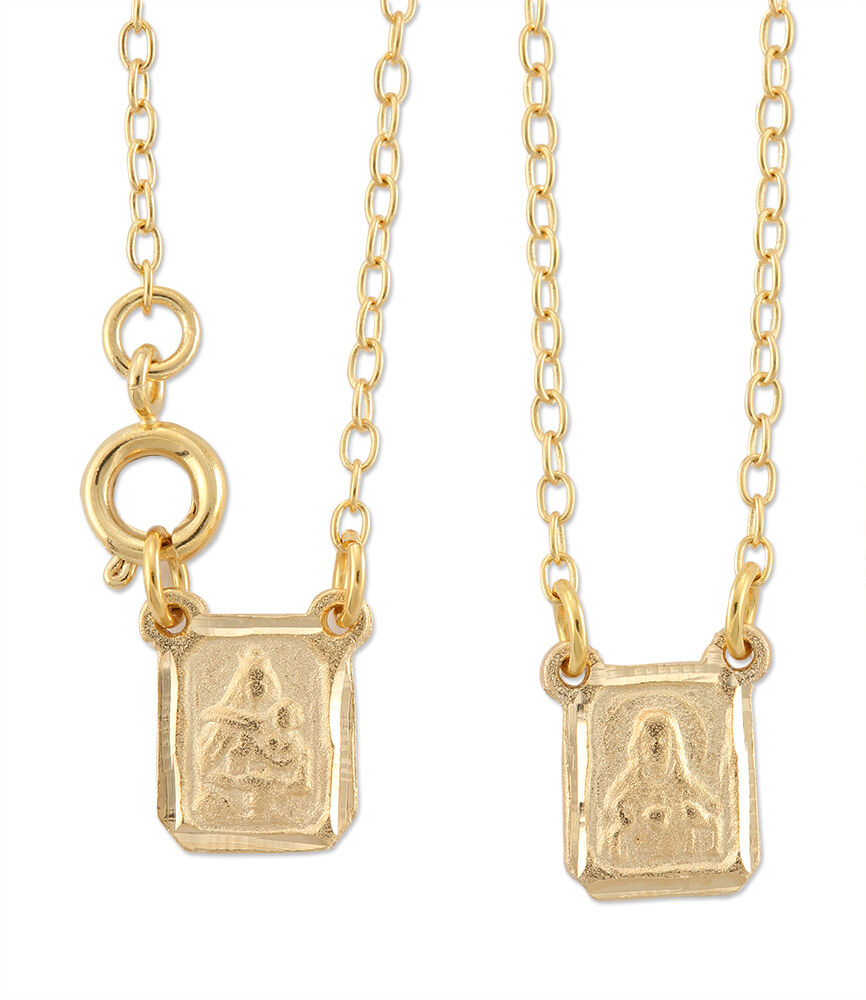 Gold Plated Scapular, Our Lady Of Mt. Carmel With Heart Of