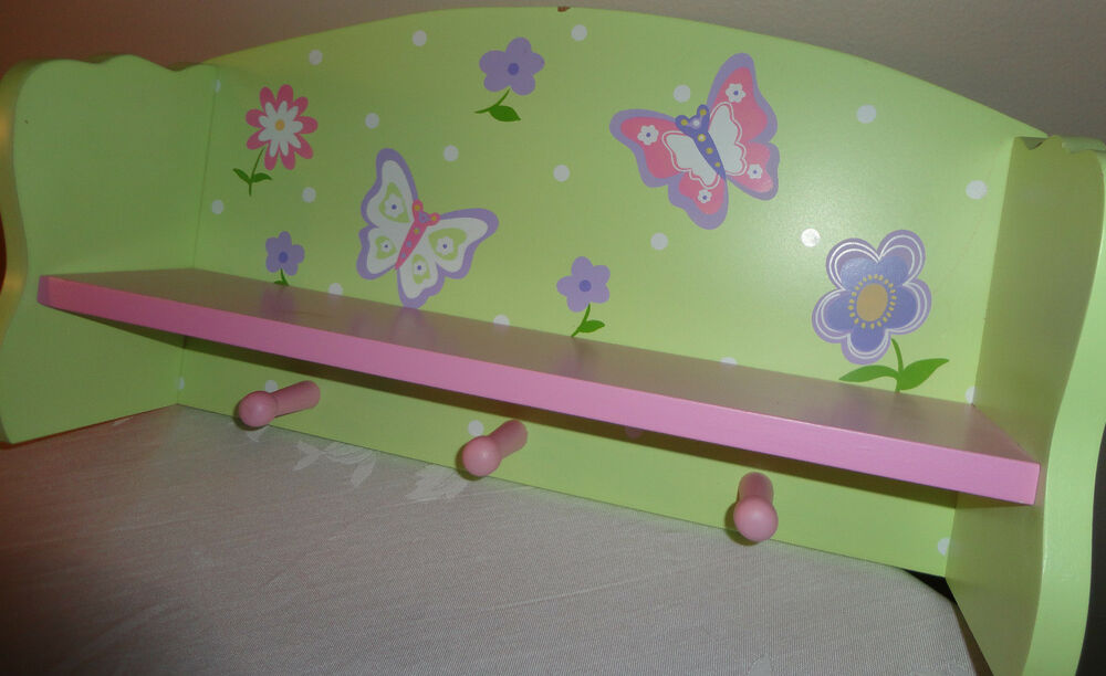 Girls Pink And Green Decorative Butterfly Wooden Wall