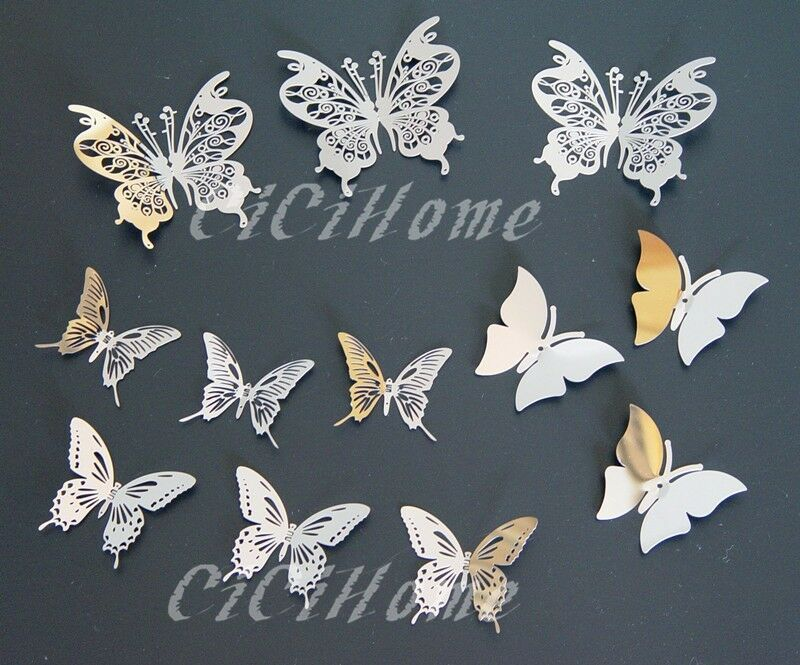 set12 2 3d butterfly mirror wall decor metal butterfly wall sticker ebay. Black Bedroom Furniture Sets. Home Design Ideas