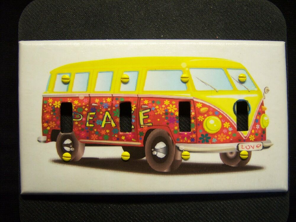 light switch covers decoupage 4 toggle flower bus hippie print made to order ebay. Black Bedroom Furniture Sets. Home Design Ideas