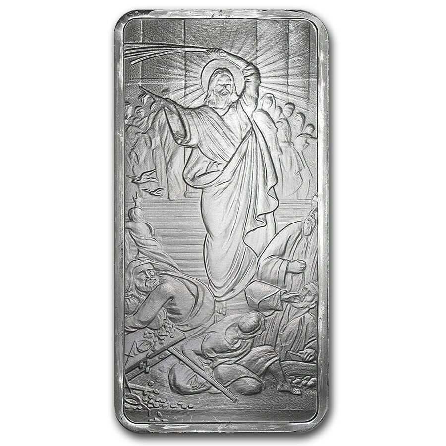 Silver Shield Jesus Clears The Temple 10 Oz 999 Silver