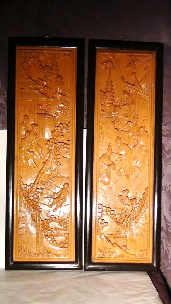 Pair antique chinese wood carved large wall panels emperor