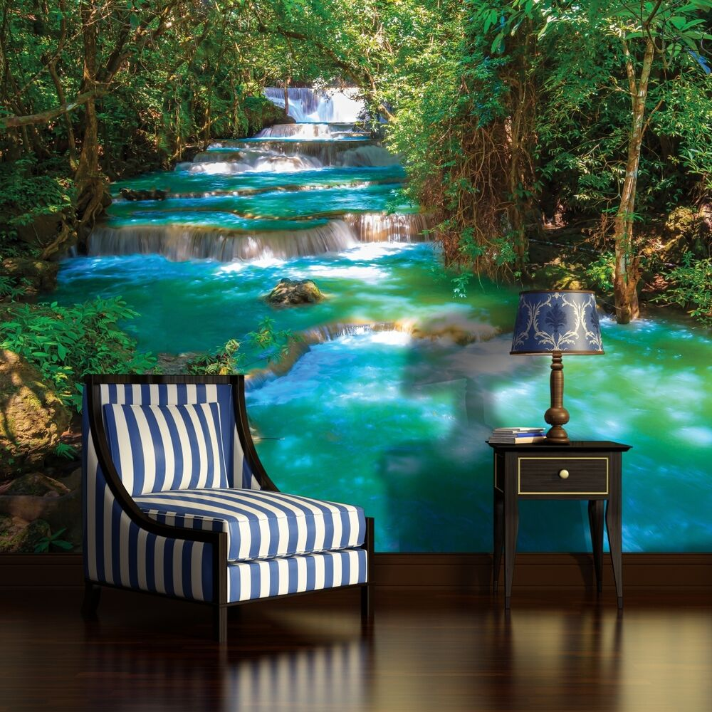 fototapete fototapeten tapete tapeten wandbild bild fluss wasser wald 3fx1968p4 ebay. Black Bedroom Furniture Sets. Home Design Ideas