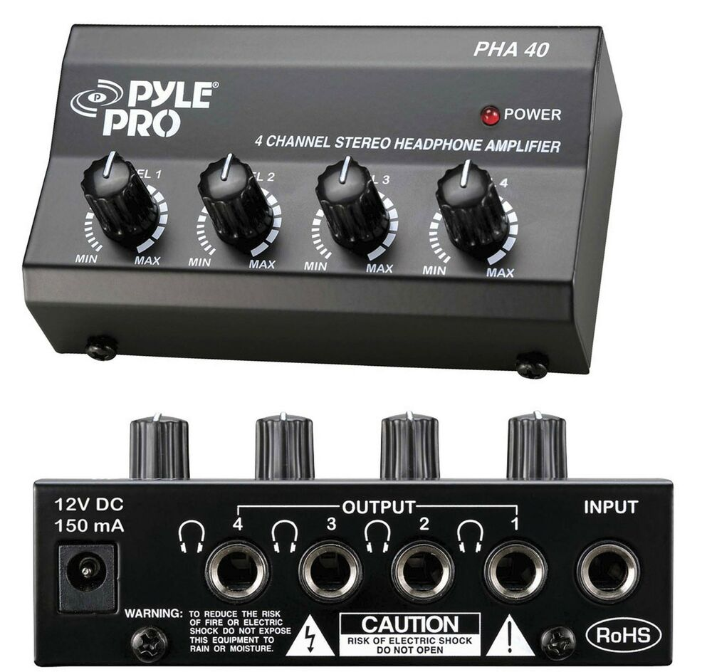 pyle 4 channel headphones signal splitter amp distribution