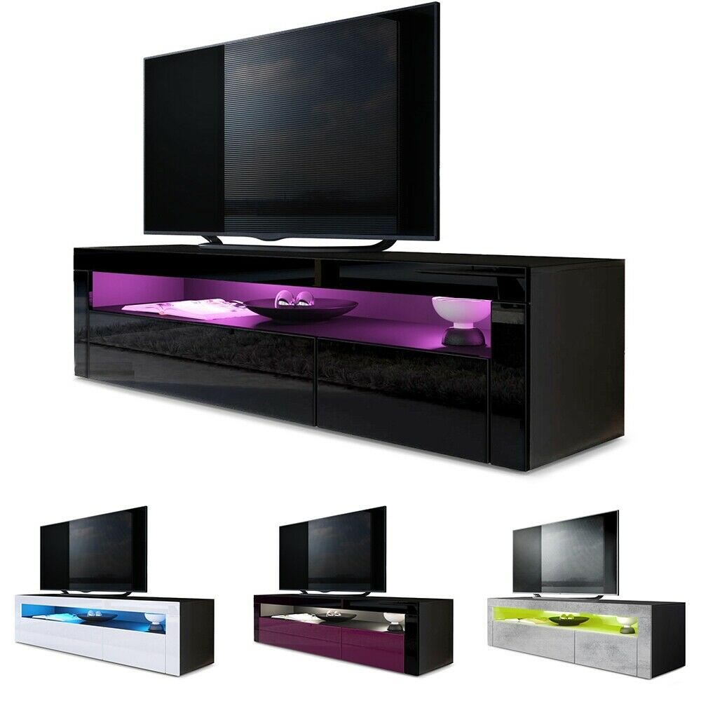 tv unit stand sideboard led valencia in black high gloss natural tones ebay. Black Bedroom Furniture Sets. Home Design Ideas