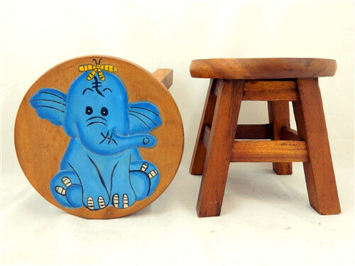 Childs Childrens Wooden Stool Chair Blue Elephant Step