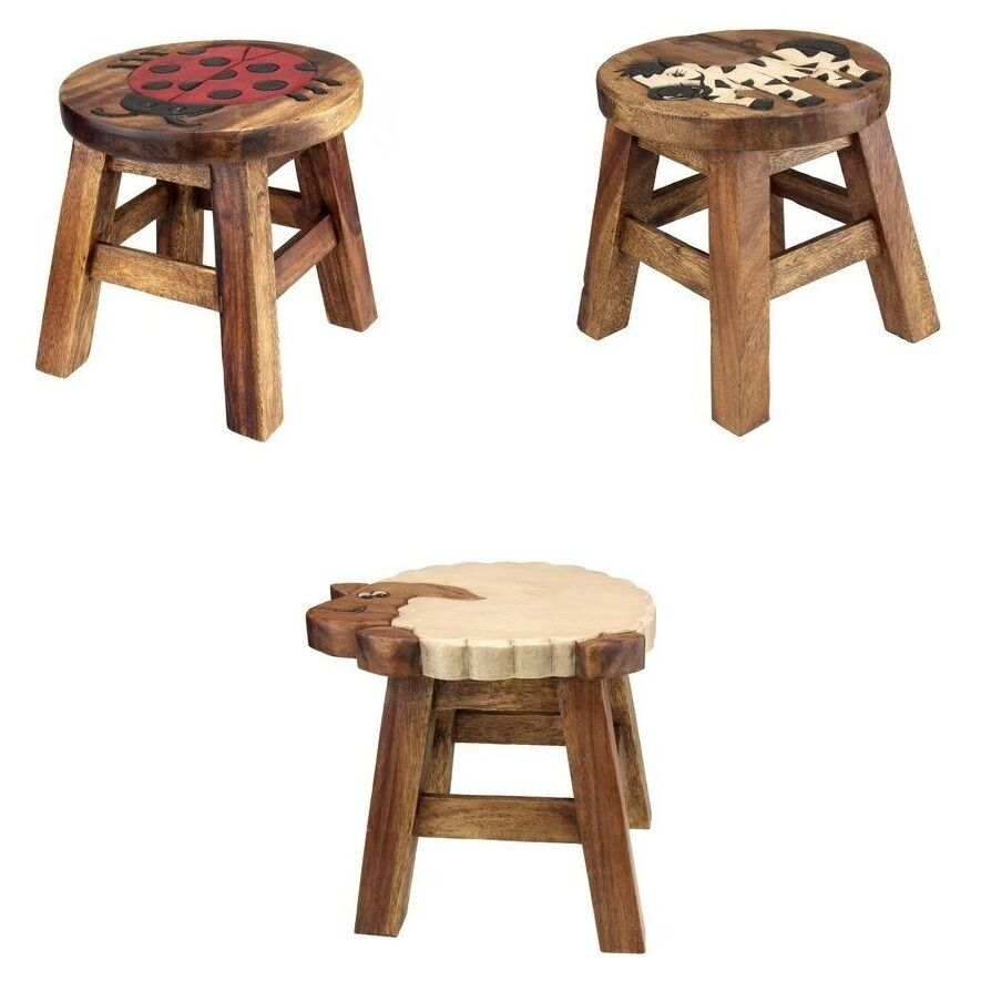 Kids childs small wooden stool chair seat with hand for Small chair for kid