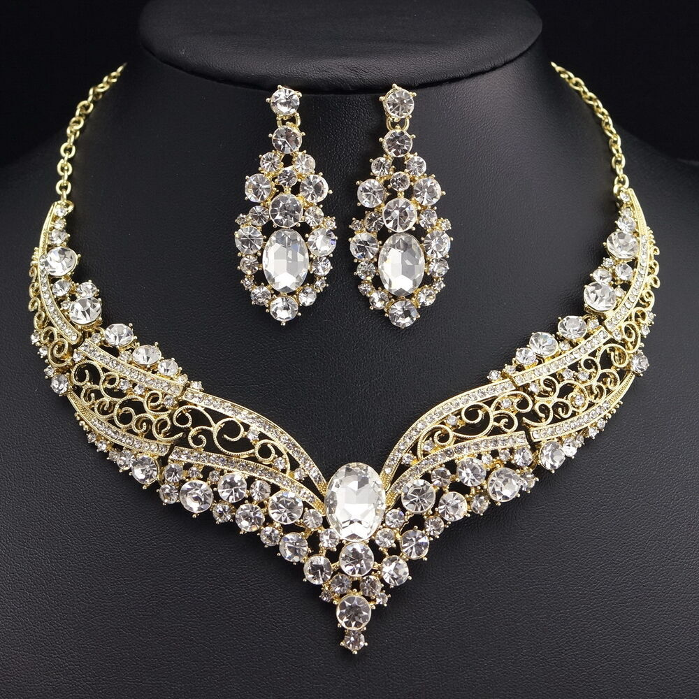 ... Crystal Earrings Necklace Set Bridal Wedding Party Gift eBay