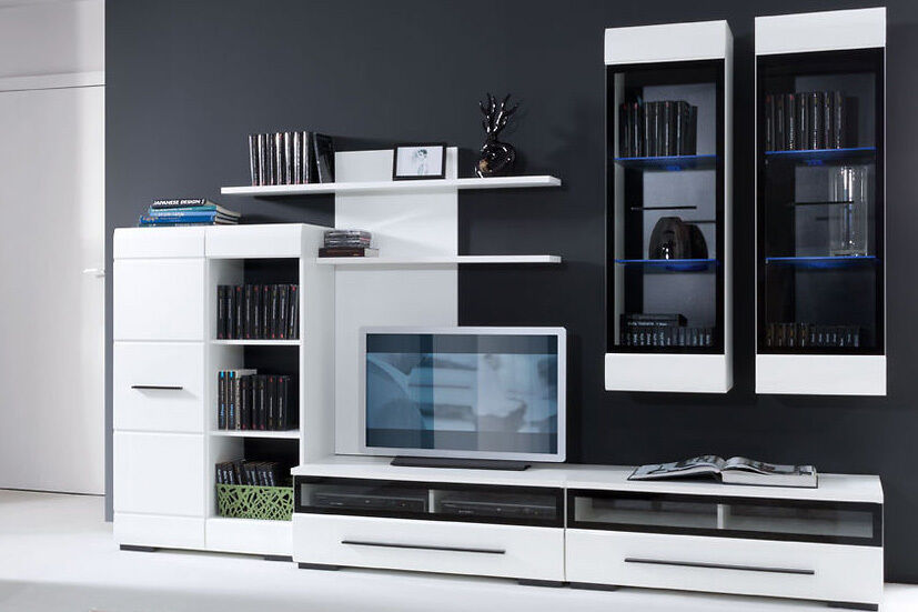 White Gloss Modern Living Room Furniture Set Led Wall Unit Tv Cabinets Fever 2 Ebay