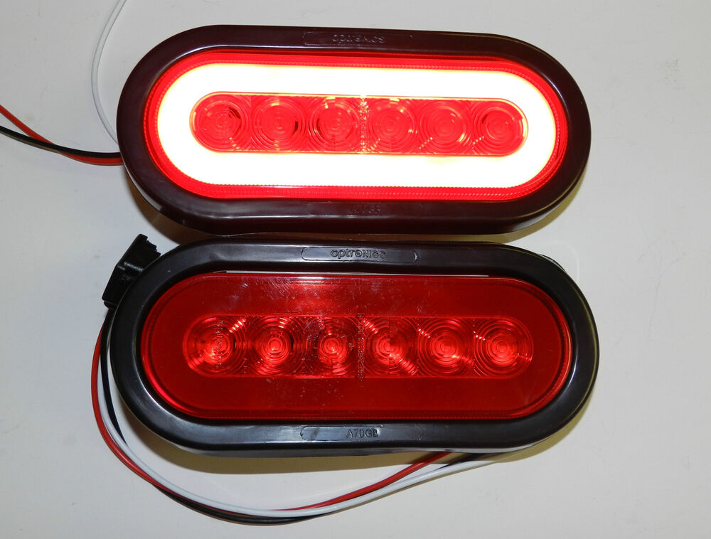2  Trailer Truck 22 Led Red 6 U0026quot  Oval Stop Turn Tail Light