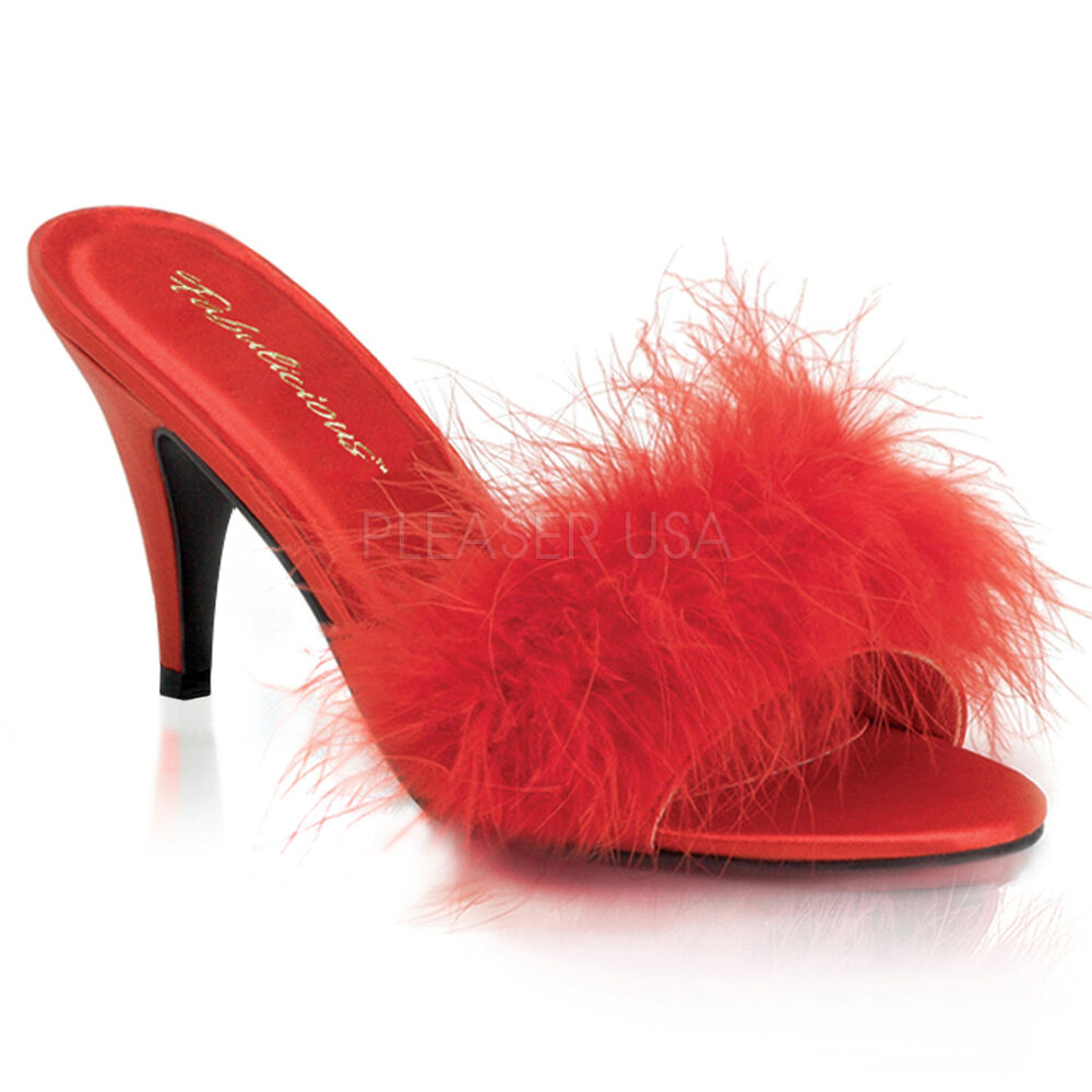 Pleaser amo03 r sat 3 red marabou feather satin slides - Ladies bedroom slippers with heel ...