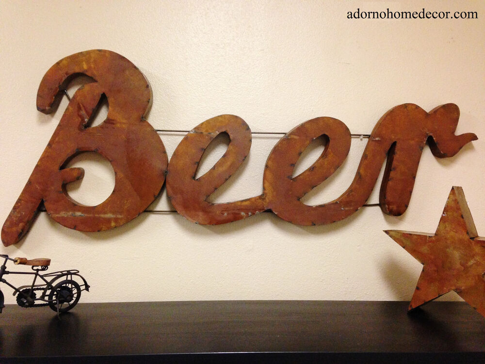 Art Décor: Rustic Metal Beer Sign Wall Decor Industrial Bar Recycled