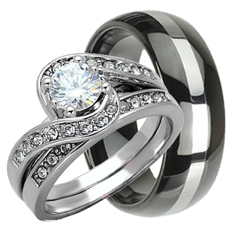 His & Hers 3 pcs Womens STERLING SILVER & Mens TUNGSTEN Wedding rings