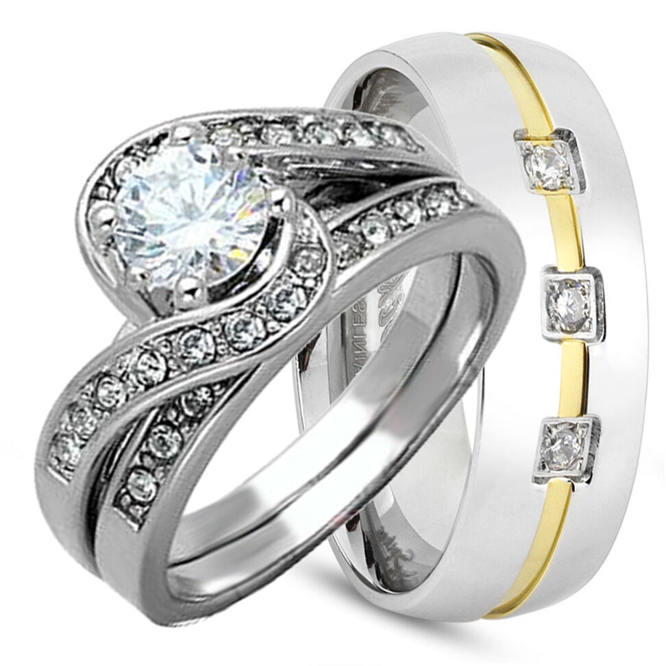 his hers 3pcs 925 sterling silver and stainless steel