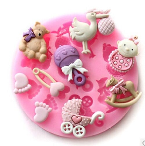baby shower newborn silicone mould baking cake cupcake topper icing