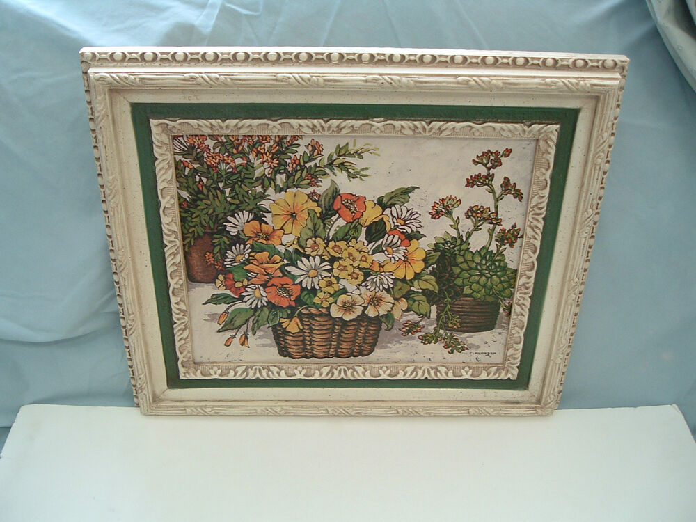 Vintage Home Interiors Floral Print Picture In White Frame