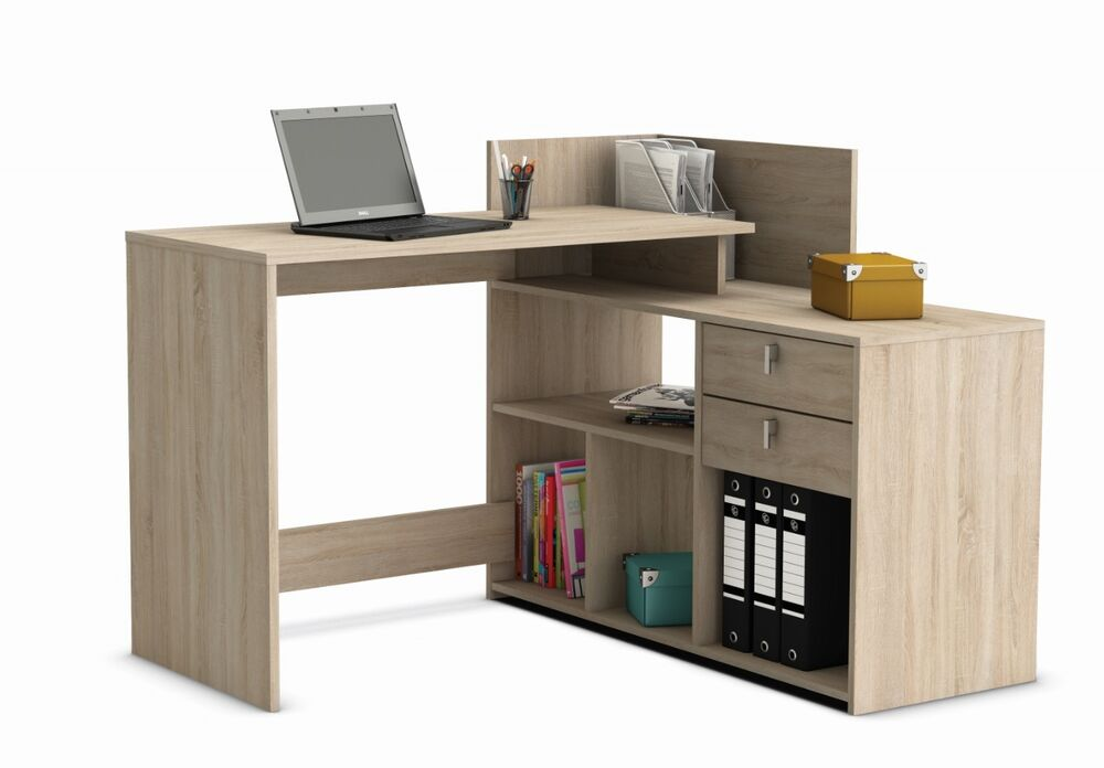 Home Office Furniture Computer Desk Study Storage Brushed Oak Ebay