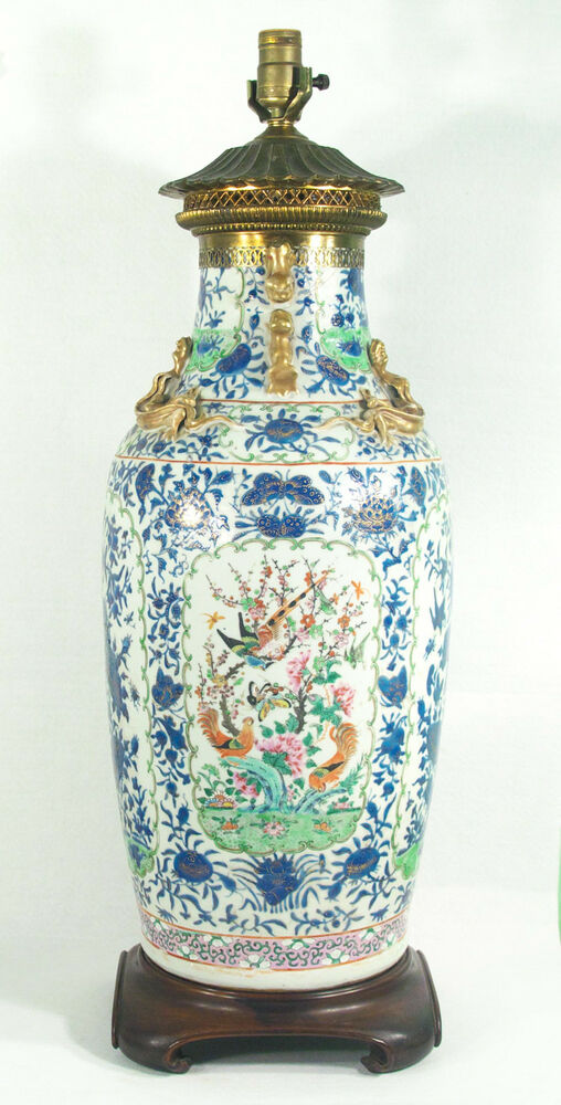 Huge Antique Chinese Porcelain Vase Mounted As Table Lamp