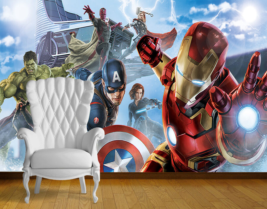 Avengers super hero wall art wall mural any size self for Avengers wall mural uk