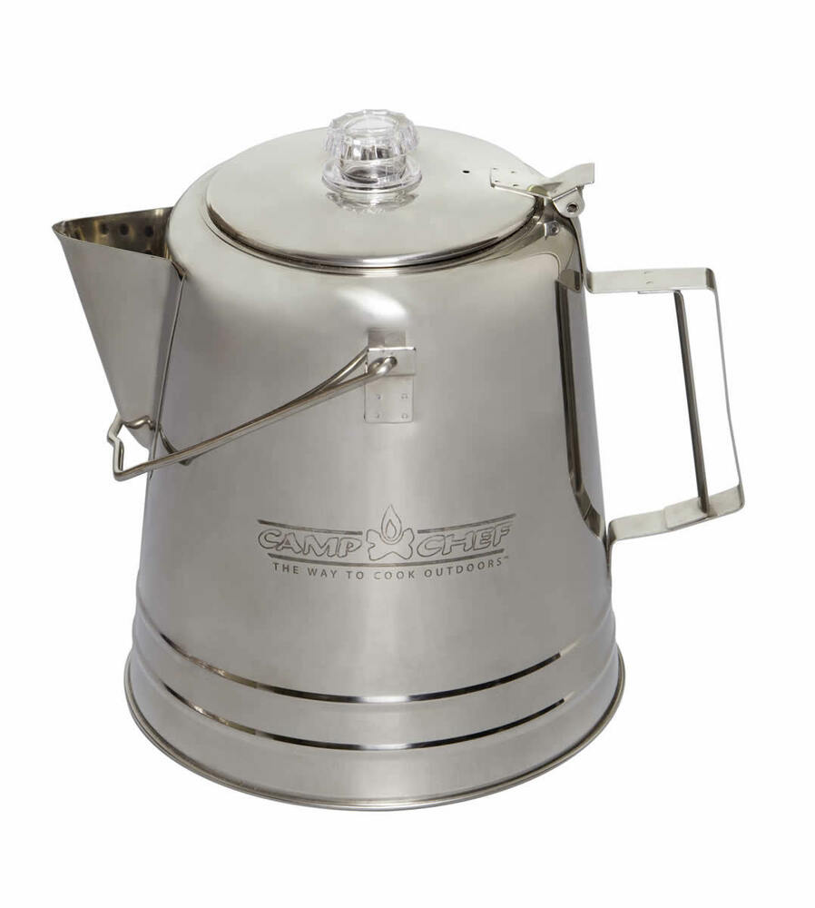 Camp Chef Stainless Steel Coffee Pot 28 Cup eBay