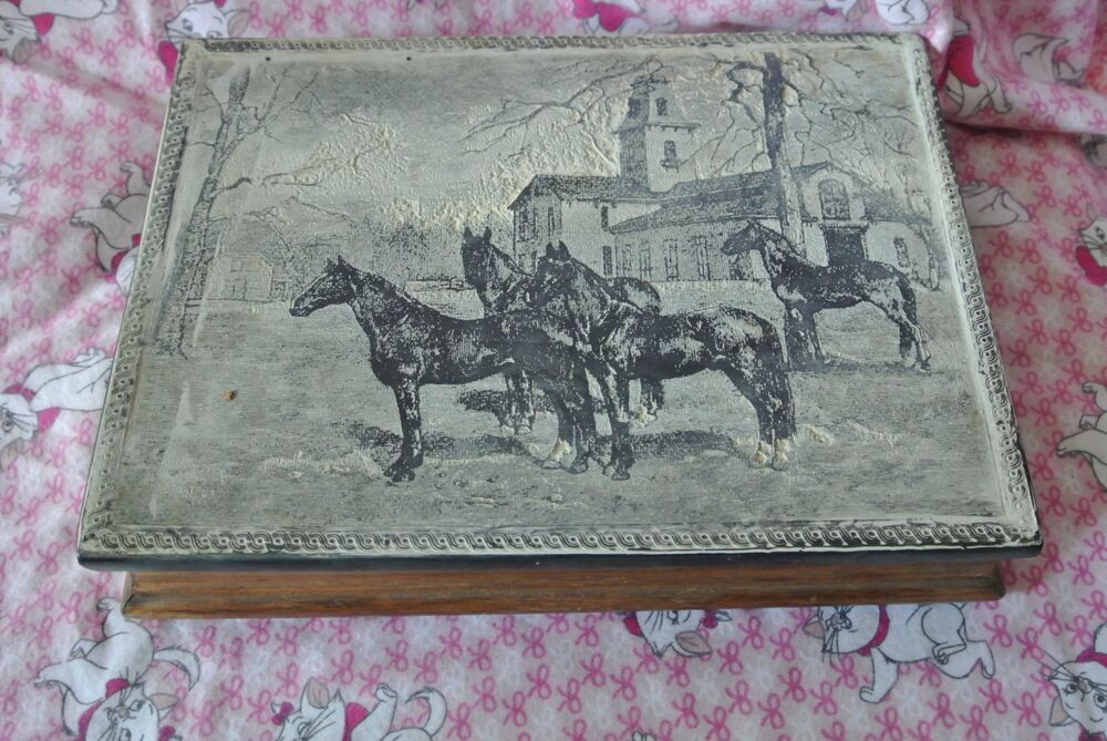 Vintage Dante American Carved Incolay Jewelry Box
