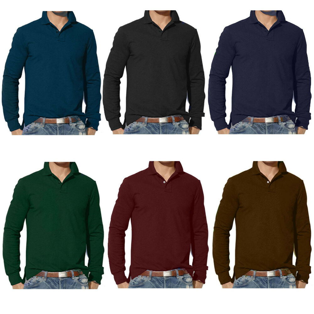 mens clothing long sleeve plain polo shirt s m l xl 2xl