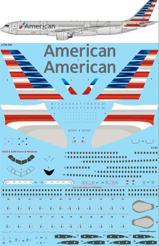 26decals 1 144 Airbus A330 300 American Airlines Decals
