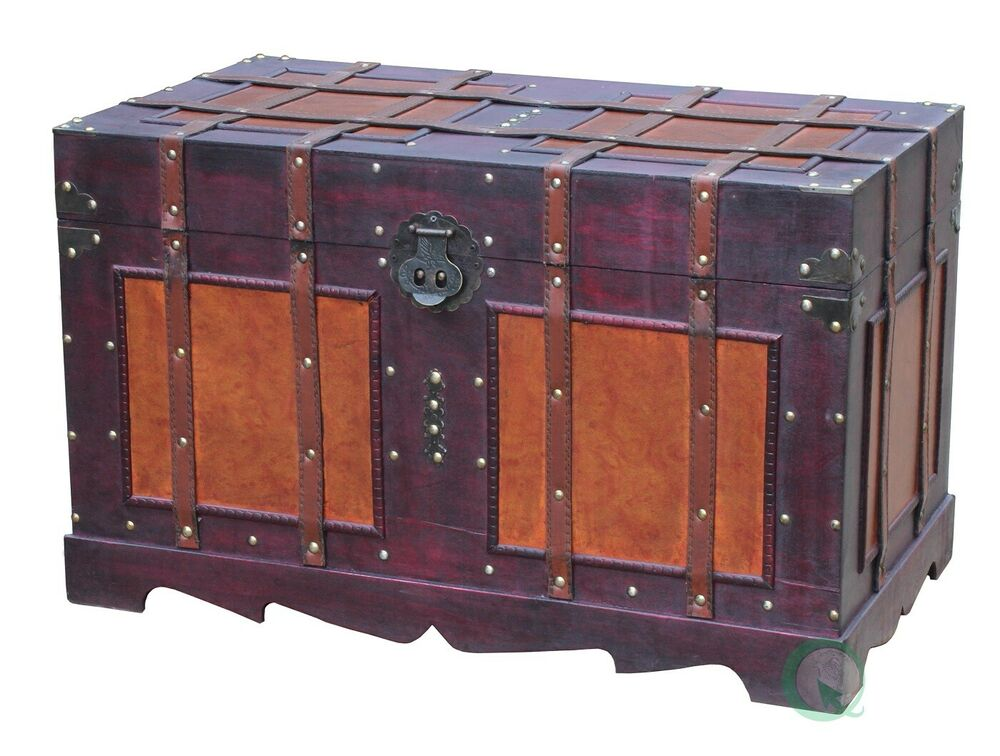 New Vintiquewise Antique Style Steamer Trunk Qi003042l Ebay