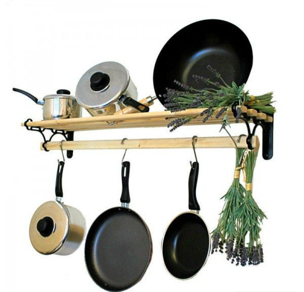 Traditional Country Kitchen Shelf Pot Pan Rack Holder
