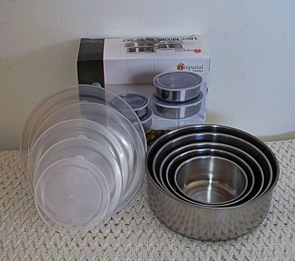 imperial home stainless steel 10 piece mixing bowl set 5 bowls lids nice gift ebay. Black Bedroom Furniture Sets. Home Design Ideas
