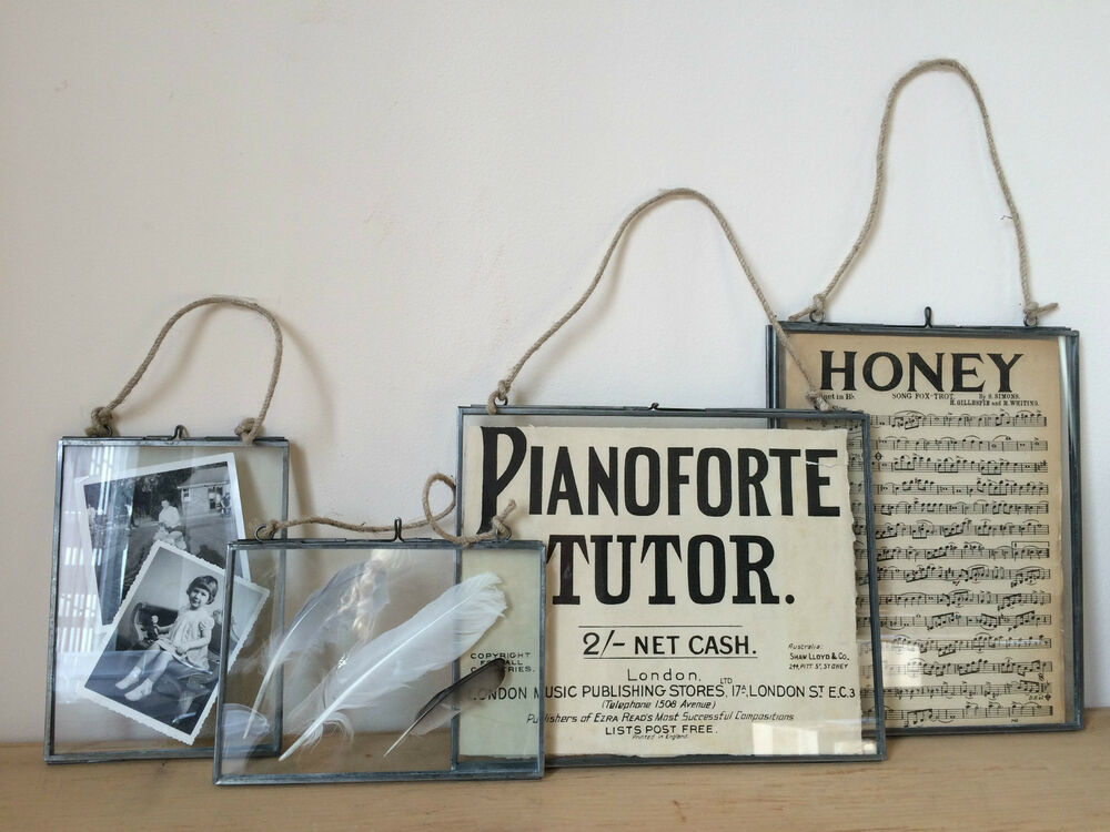 Antique silver metal glass hanging photo frame vintage for Small vintage style picture frames