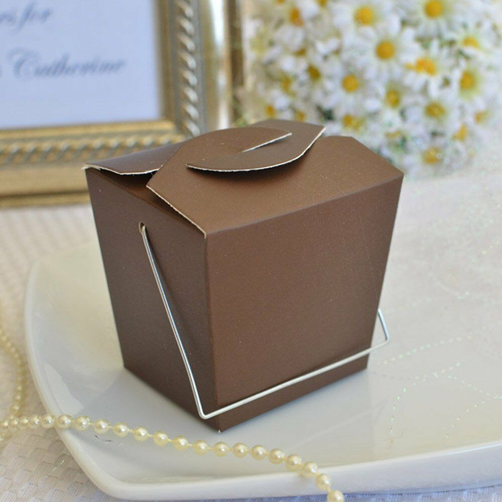 Clear Chinese Take Out Favor Boxes : Brown small chinese take out boxes with handle favor