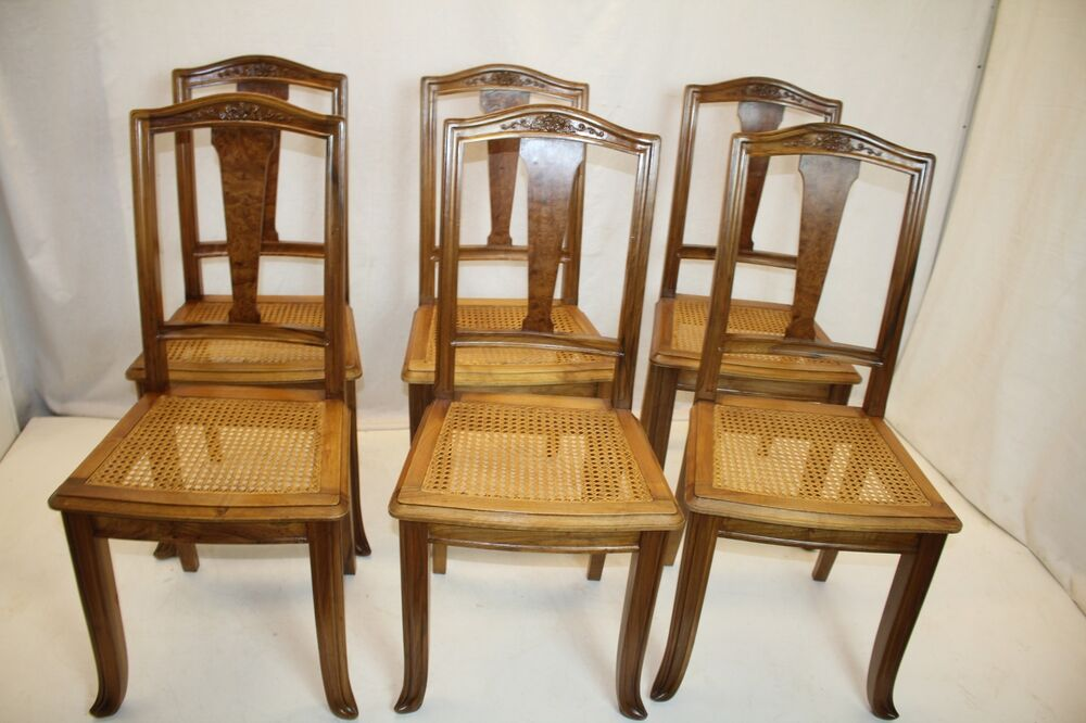 set of 6 french art nouveau period caned seat tall back dining chairs c 1920 39 s ebay. Black Bedroom Furniture Sets. Home Design Ideas