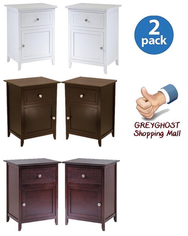 nightstand night tables set of 2 with cabinet and drawer bedroom furniture ebay. Black Bedroom Furniture Sets. Home Design Ideas