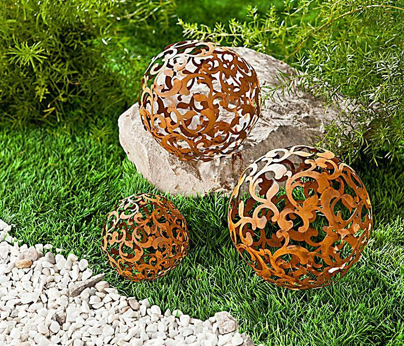 3 gartenkugeln kugeln edelrost metall rost garten deko dekokugeln rosenkugel ebay. Black Bedroom Furniture Sets. Home Design Ideas
