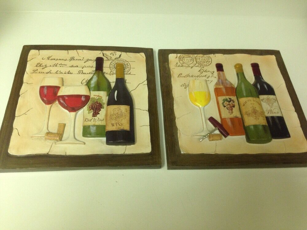 Set of 2 3d wine theme wall plaques wine kitchen decor for Kitchen wall art sets