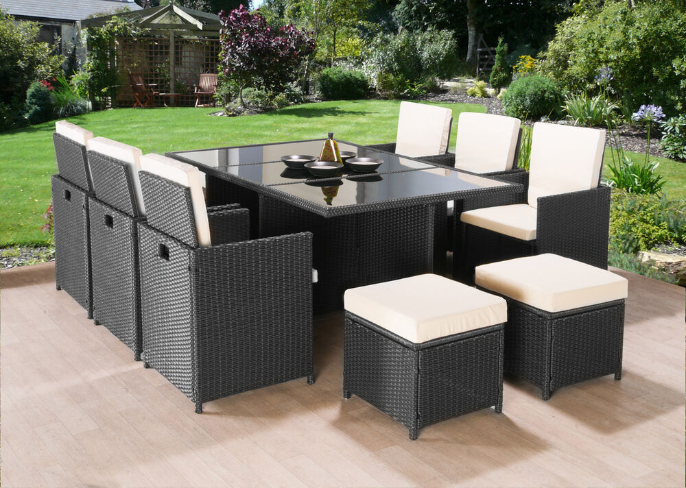 Cube rattan garden furniture set chairs sofa table outdoor for Outdoor wicker patio furniture