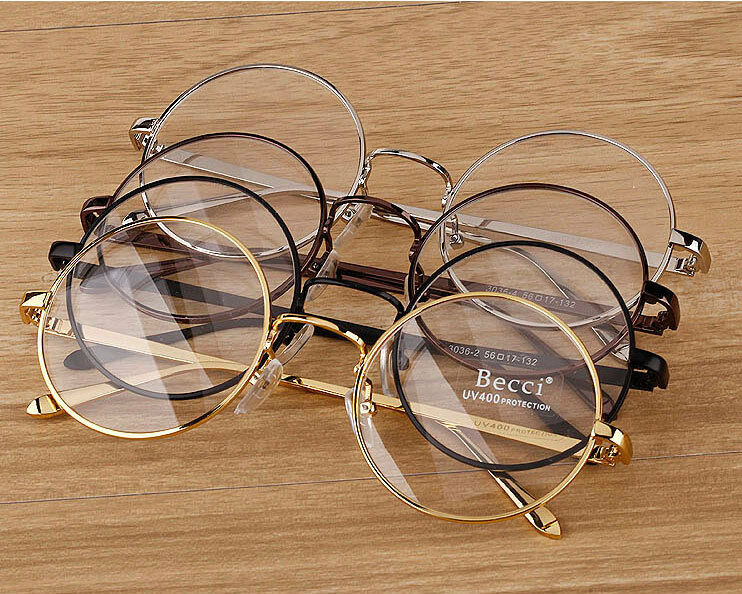 Old Eyeglass Frames New Lenses : New Fashion Vintage Round Circle Eyeglasses Frame Myopia ...