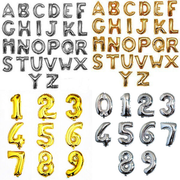"Alphabet Foil Silvers: 16""/40"" Balloons Golden/Silver Foil Letter Number For"