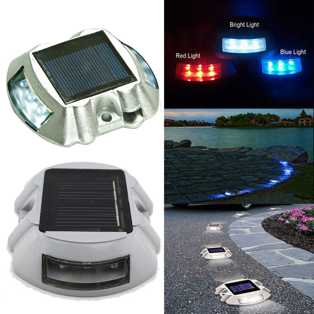 led solar power path deck stud garden road dock yard lights ebay. Black Bedroom Furniture Sets. Home Design Ideas